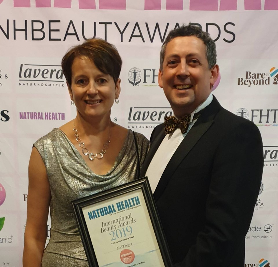 James & Michelle Sutton from NATorigin Cosmetics & Skincare receiving Highlly Commended Award.