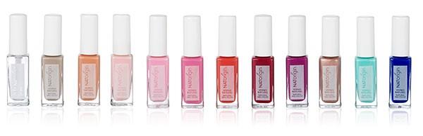 NATorigin natural and non-toxic nail enamel colour display.